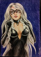 Commission - ACEO - Laura Vandervoort as Black Cat by Crida