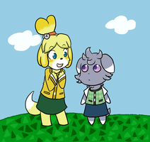 Isabelle and Espurr by Sixala