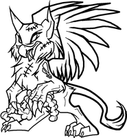 Zombie Griffon Lineart by Xbox-DS-Gameboy