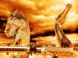 Golden Kelpies by LonginusTheVampire