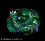 lavender green coiled dragon by Reptangle