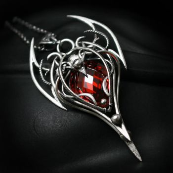 IXEELTHER silver and red zirconia by LUNARIEEN