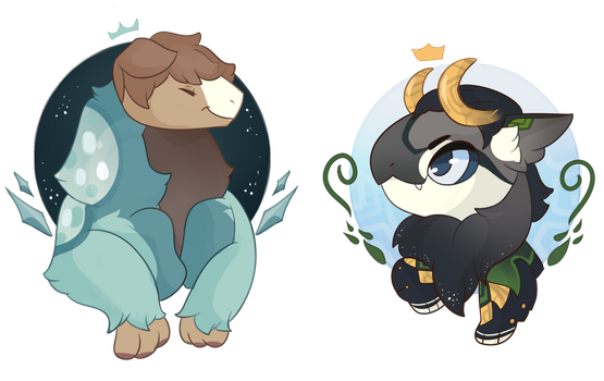 [YCH] Winter puff and angry bird by Chiki-nan