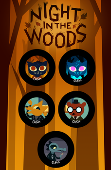 Night in the woods Buttons by 0okamiseishin