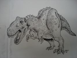 dinosaur pen and ink by ArtytheArtist