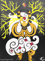Tribalish Mega Ampharos - Eye of the Storm by vaguelygenius