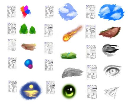 Brushes settings for Paint tool SAI by ryky