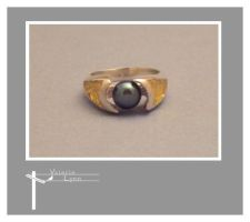 Cupped Black Pearl Ring by SongBird55