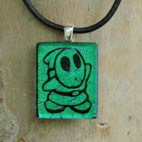 Green Shy Guy Glass Pendant by FusedElegance