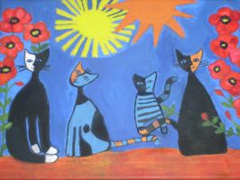 cats with poppies by ingeline-art
