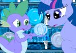 Twilight and Spike in the Hall of Prophecy by Scholar57