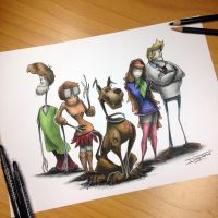 Scooby Doo gang Creepy Drawing by AtomiccircuS