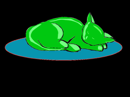 Green Cat On Blue Rug In The Dark by katiejo911