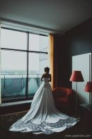 My wedding dress from the back by Endleria