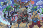 Commission: Samurai Pokemon Team by matsuyama-takeshi