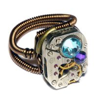Steampunk Ring - Heliotrope and aquamarine crystal by CatherinetteRings