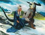 Altera and the horned wolf on Emmeleia by VincentPompetti