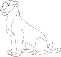 Lioness lineart by Lil-Cheetah