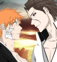 Aizen/Ichigo (Colored) by ChAoTiC-Flames