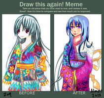 before and after meme: kimono design by Moe101
