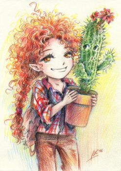 Tyree and cactus by Maria-Sandary