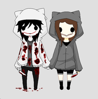 Chibi Jeff the Killer and Mouthless Julie by TheBlackestHeart