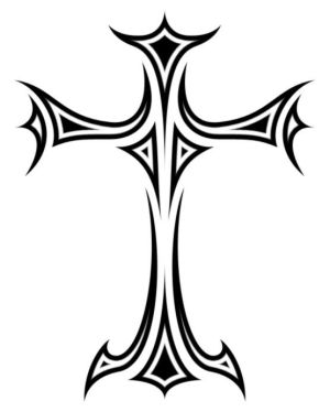 Corner Tribal Cross Tattoo Designs Picture 3