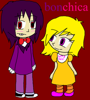 bonnie X chica human by QUEENLISA326
