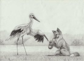 The Stork and the Fox by Penguinity