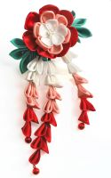 Love's Wings. Red and Pink Peony Tsumami Kanzashi. by hanatsukuri