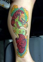 Foo Dog Tattoo by dmillustration