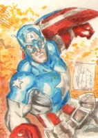 Captain America Sketch Card by ChrisMcJunkin