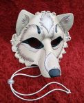 Cream and Silver Wolf Mask by merimask