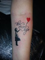 Banksy arm tattoo by Malitia-tattoo89