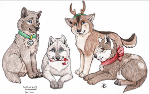 Merry Christmas from Wolf Cubs by Dragon-Art14
