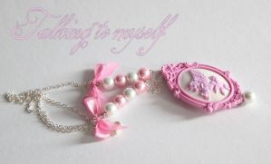 Pink unicorn pegasos cameo necklace by Charly-chan