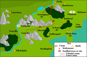 Map of Equestria for the Siege of Trottingham by Vector-Brony