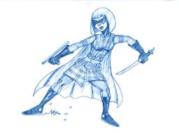 BLUE SKETCH 1 hit girl by Mich974