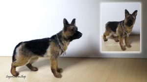 1:12 german shepherd - polymer clay by sugarcharmshop