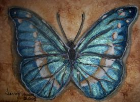 Morpho Butterfly atc by artwoman3571