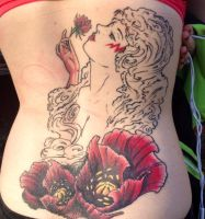 Mary *Stormer* Phillips Tattoo (WIP healed) by TheGreenCoyote
