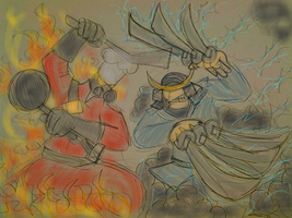 flames of love vs claws of thunder dragon by gameboyred