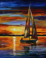 Sailing by the shore by Leonid Afremov by Leonidafremov