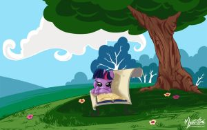 Twilight Sparkle Reading by mysticalpha