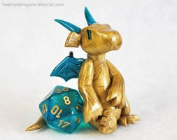Laid-back Gold D20 Dice Dragon by HowManyDragons