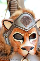 Armored Lion Fantasy Leather Mask by b3designsllc