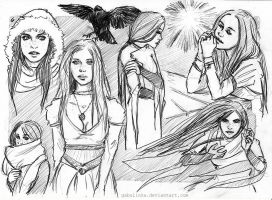 Raven, Sketch Page by gabulinka