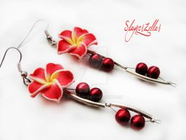 Polymer clay red flower earrings by Benia1991