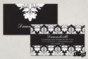 Elegant Damask Business Card by inkddesign