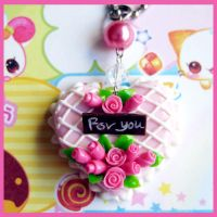 Strawberry Heart Cake Necklace by cherryboop